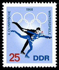 A postage stamp issued by East Germany in 1968 in commemoration of their first Winter Olympics as an independent country
