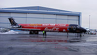 A FIFA World Cup Trophy Tour aeroplane, sponsored by Coca-Cola. (2010)