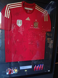 A Spain shirt, autographed by members of the World Cup-winning squad, on display in Madrid