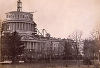 Inauguration of Abraham Lincoln, March 4, 1861, beneath the unfinished dome of the Capitol.