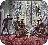 Shown in the presidential booth of Ford's Theatre, from left to right, are assassin John Wilkes Booth, Abraham Lincoln, Mary Todd Lincoln, Clara Harris, and Henry Rathbone