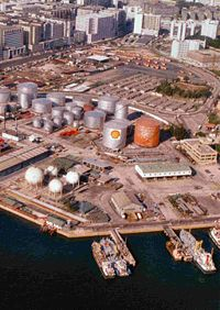 Former Shell oil depot in Kowloon, Hong Kong, around the mid-1980s