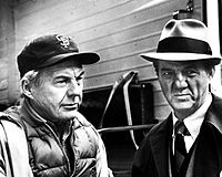 """Malden (right) as Mike Stone, with David Wayne as Wally Sensibaugh in """"In the Midst of Strangers"""" (Season 1, Episode 8)"""