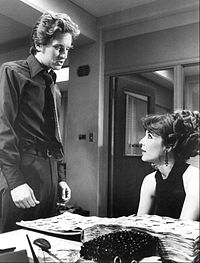 """Douglas (left) as Steve Keller, with Janice Rule as Beverly Landau in """"The First Day of Forever"""" (season one, episode two)"""
