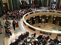 """Evers delivering the 2012 """"State of Education Address"""" in the Wisconsin Capitol Rotunda"""
