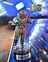 The redesigned moonman by Jeremy Scott at the 2015 MTV Video Music Awards.