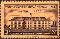 A commemorative 3-cent stamp from 1956 celebrating the bicentennial of Nassau Hall