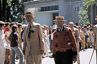 The P-Rade in the 1970s, showing marchers from the class of 1913 including Donald B. Fullerton on the right