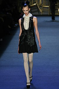 Kloss on the runway for Zac Posen, fall 2008 in New York Fashion Week