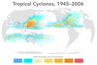 Map of all tropical cyclone tracks from 1945 to 2006