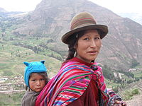 Peruvian woman and her son of indigenous descent