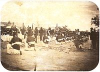 The Imperial Brazilian Army during a procession in Paraguay, 1868