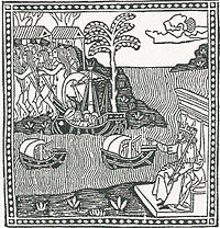 Woodcut depicting Italian explorer Amerigo Vespucci's first voyage (1497-98) to the New World, from the first known published edition of Vespucci's 1504 letter to Piero Soderini.