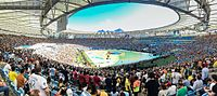Panorama of the interior of the Maracanã stadium during the closing ceremony of the 2014 FIFA World Cup