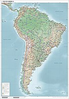 Map of South America showing physical, political and population characteristics, as per 2018