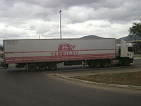 Truck of a meat company in Brazil. South America produces 20% of the world's beef and chicken meat.