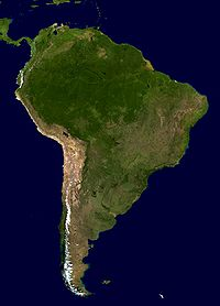 A composite relief image of South America