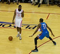 Harden (left) and Kevin Durant during the 2013 NBA playoffs