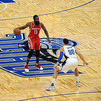Harden with the ball in a game against the Orlando Magic in 2017
