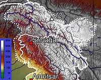 Topographic map of Kashmir