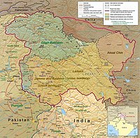 Political map of the Kashmir region, showing the Pir Panjal range and the Kashmir Valley or Vale of Kashmir