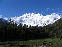 Nanga Parbat in Kashmir, the ninth-highest mountain on Earth, is the western anchor of the Himalayas