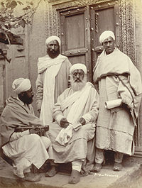 A group of Pandits, or Brahmin priests, in Kashmir, photographed by an unknown photographer in the 1890s