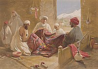 A Muslim shawl-making family shown in Cashmere shawl manufactory, 1867, chromolithograph, William Simpson