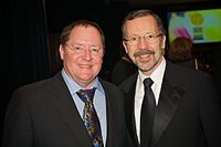 John Lasseter (Chief Creative Officer, 2006–2018, left) and Edwin Catmull (President, 2006–2018, right) came to Disney following its acquisition of Pixar and dedicated themselves to revitalizing Walt Disney Animation Studios after the studio's unsuccessful early 2000s period.