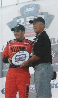 Sauter receiving the Busch Pole Award for the 2005 SBC 250, a race which he would later win.
