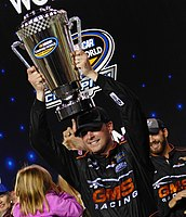 Sauter after winning the 2016 NASCAR Camping World Truck Series Championship