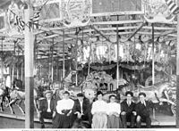 Charles Looff and family at the Crescent Park Looff Carousel, c. 1905