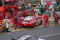 Stewart pits his No.14 Impala in the 2009 Coca-Cola 600 at Charlotte Motor Speedway.