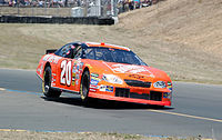 Stewart on two wheels before going on to win the 2005 Dodge/Save Mart 350, at Infineon Raceway