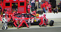 Stewart pits during the 2010 Pepsi Max 400