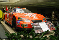 Stewart's 2005 Allstate 400 at the Brickyard winning car on display at the Indianapolis Motor Speedway museum.