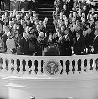 Chief Justice Earl Warren administers the Presidential oath of office to John F. Kennedy at the Capitol, January 20, 1961.