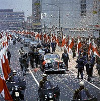 Motorcade with Kennedy and President Adolfo Lopez Mateos in Mexico City, June 1962