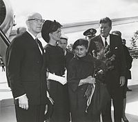 Kennedy (right) and his wife Jacqueline (second left) with Urho Kekkonen, the President of Finland, (left) and his wife Sylvi Kekkonen (second right) in year 1961