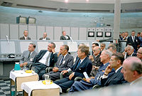Kennedy (front row, middle) during a tour of Blockhouse 34 at the Cape Canaveral Missile Test Annex