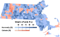 Results of the 1958 U.S. Senate election in Massachusetts. Kennedy's margin of victory of 874,608 votes was the largest in Massachusetts political history.