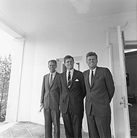 The Kennedy brothers: Attorney General Robert F. Kennedy, Senator Ted Kennedy, and President John F. Kennedy in 1963