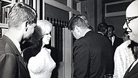 """Attorney General Robert F. Kennedy, Marilyn Monroe, and John Kennedy talk during the president's May 19, 1962 early birthday party, where Monroe publicly serenaded JFK with """"Happy Birthday, Mr. President"""""""