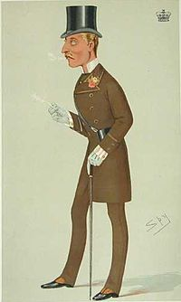 The Duke of Connaught in a braided frock coat suit with silk top hat, stand-up collar, cravat, buttonhole, striped shirt, gloves, button boots, cane and racing glasses, in a cartoon in Vanity Fair from 1876.