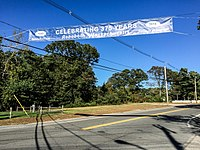 This banner across Route 44 commemorates the town's 375th anniversary in 2018.