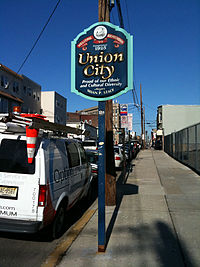 Sign marking Union City's southern border with Jersey City