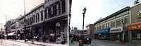 Bergenline Avenue then and now: Facing south toward 32nd Street, circa 1900 (left), and in 2010 (right)