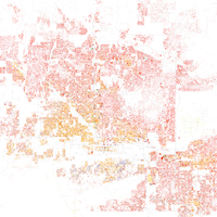 Map of racial distribution in Phoenix, 2010 U.S. Census. Each dot is 25 people: White, Black, Asian Hispanic , or Other (yellow)