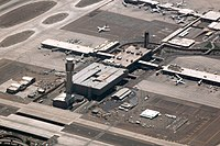 An aerial view of the control tower at Phoenix Sky Harbor that began operations on January 17, 2007.