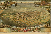Aerial lithograph of Phoenix from 1885